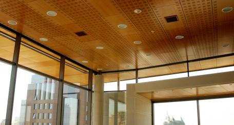 Plafón Natura: Plafon compuesto por bandejas de madera aglomerada resistente a la humedad y enchapada en madera natural por ambas caras. Presentaciones lisa y perforada para dar propiedades acústicas.